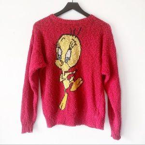 Vintage Red Knit Looney Tunes Tweety Bird Sweater